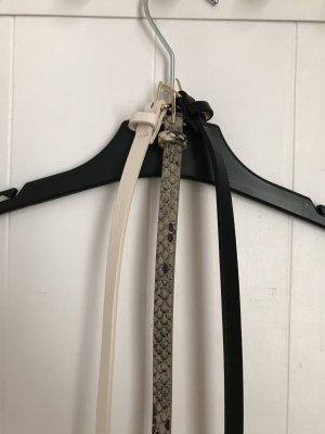 H&M Cintura in ecopelle nero-beige chiaro