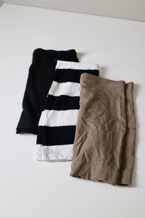 3er Set Jersey Basic Röcke Gr. XS Bodycon taupe schwarz gestreift