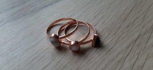 3er Set Modeschmuck Ringe mit Stein roségold kupfer weiß schwarz Gr. 56