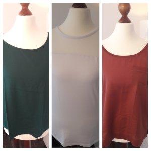 3er Set Shirts Gr.36/38 weiss rost grün