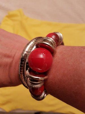 3fach Armband mit roten Kugeln #total flexibel