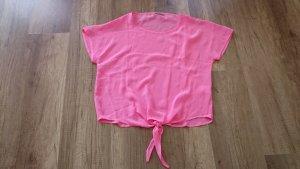 3suisses Bluse Blusenshirt Crop Croptop Seide Silk Pink Neon Neonpink 38/40