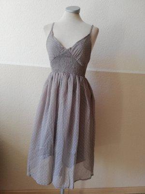 3suisses Chiffonkleid Chiffon Kleid Gr. 34 XS neu grau weiß Punkte Trägerkleid