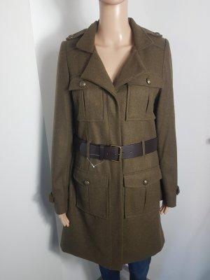 3suisses Damen Wollmantel Wolljacke khaki mit Gürtel Größe 38 NEU