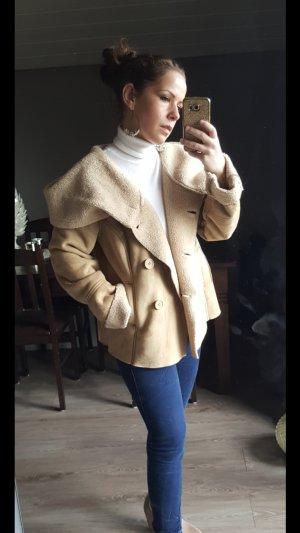 3Suisses Lederjacke Felljacke mit großem Kragen Gr 40 Creme Jacke