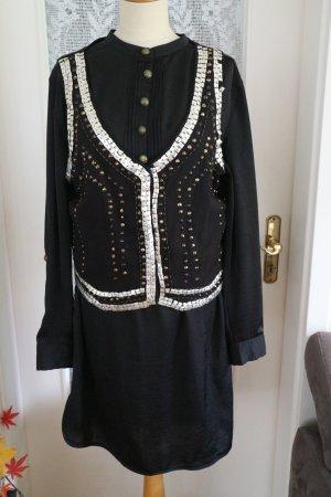 3Suisses Longbluse Tunika Blusenkleid + Weste - Nieten - schwarz - Gr. 42/44