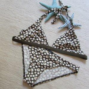 3Suisses * %Summer SALE% Süßer Retro Neckholder Bikini * khaki-braun-weiß-gold Dots * 40/42