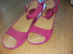 3 Suisses Platform High-Heeled Sandal magenta leather
