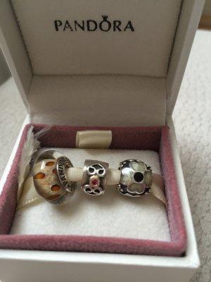 3tlg. Pandora Charm Set: Clip Bicolor & Saphir, Murano, Blume