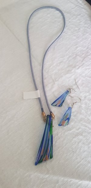 Necklace blue-pale green
