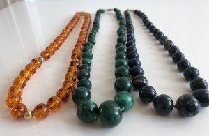 3x  Ketten Malachit Edelstein Halbedelsteine Halskette Perlen collier Perlenkette Kugeln