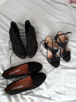 3x schw. Schuhe: Bruno Premi Sandale 37, Salamander Ankle Boots 37,5,  Slipper 38 (&otherstories, Leder)