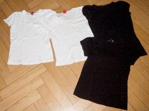 4 Basic Shirts H&M Esprit schwarz weiß Gr. S 36