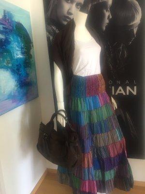 4 Designer boho Vintage Style Blogger Hippie Outfit maxirock pashmina ZARA top und Handtasche italy