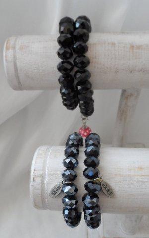 4 edle Armbänder aus facettierten Glassteinen 2 x Esprit Schwarz Anthrazit