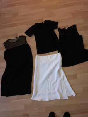 4 Teile von Koton Gr S/36 Kleid, Rock, Chiffon-Top, schwarzes Shirt