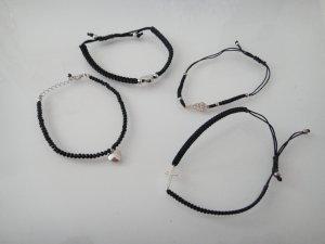 4 x edelste neue & ungetragene Makramee Armbänder mit 925 Silber Charm Ahänger