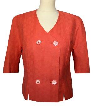 40 M KARL LAGERFELD Bluse Blazer Jacke lachs rot orange mit Leinen 1/2 Ärmel