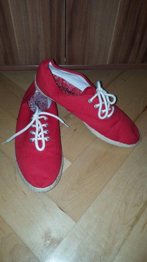 40 wNEU Sneaker rot Stoffschuhe Schnürschuhe Bast