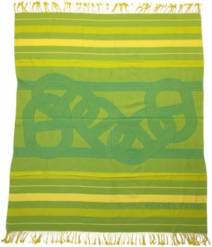 Hermès Fringed Scarf green-yellow cotton