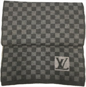 4020 Louis Vuitton Petit Damier Schal aus Wolle in Grau