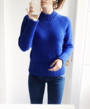 49,95€ 100% Baumwolle kobaltblauer Pullover Pulli Sweater Stehkragen S 36 NEU