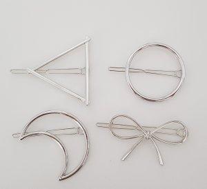 4er-Set Haarspangen (Dreieck, Kreis, Sichel, Schleife)