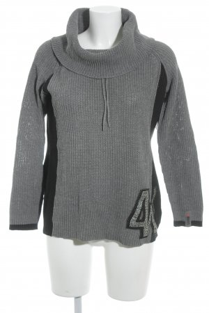 4Wards Turtleneck Sweater grey-black loosely knitted pattern casual look