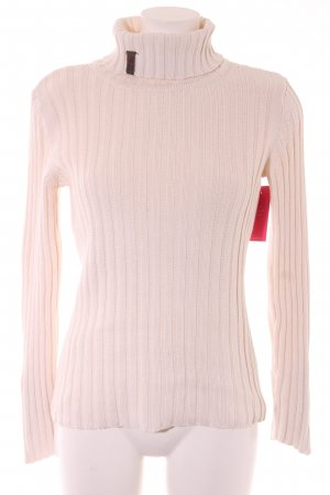 4Wards Strickpullover creme Streifenmuster Street-Fashion-Look