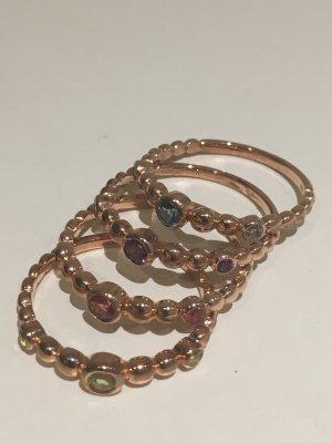 4x Stacking Ringe rosé vergoldet, mit echten Edelsteinen,  New One by Schullin, NEU und ungetragen! Gr. 57 + 58