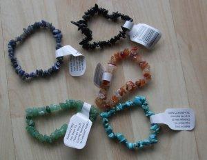 5 Edelstein Armbänder - Splitterarmbänder