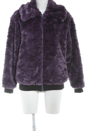 5 Preview Veste en fausse fourrure violet foncé-noir style mode des rues