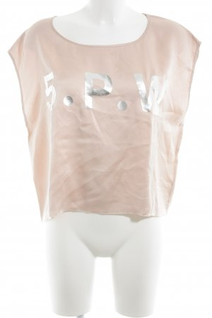 5 Preview Silk Top light pink-silver-colored printed lettering wet-look