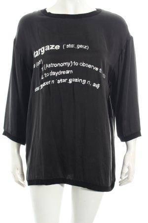 5 Preview Shirt schwarz-silberfarben Schriftzug gedruckt Boyfriend-Look