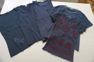 5 schwarze Shirts im Set neuwertig Gr. S Mango, Benetton, H&M