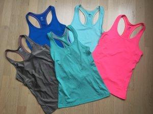 5 Sport-Tops, Tanktop, Fitnessshirt Damen, Gr. XS, H&M