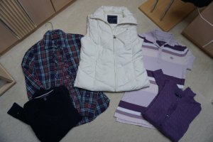 5 Teile Tommy Hilfiger Gr. XS Steppweste Daune, Bluse, Pullover, Polo, Strickjacke