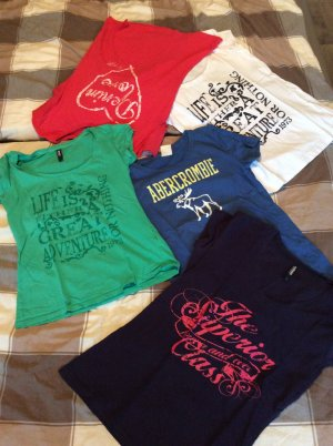 5 tshirts, abercrombie mustang usw