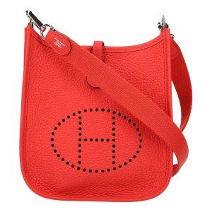 Hermès Sac bandoulière rouge-argenté cuir