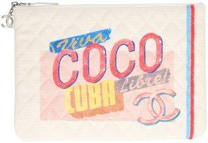 5012 Chanel CC Cuba Clutch, Tasche, Handtasche aus Tuch, Kalbsleder und silberfarbenem Metall