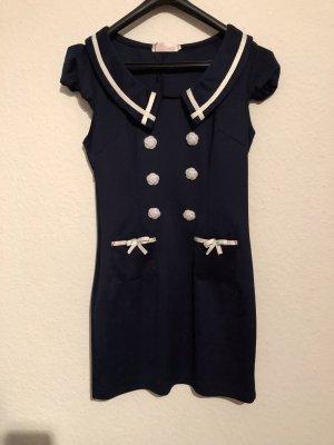 Robe avec jupon bleu foncé-blanc
