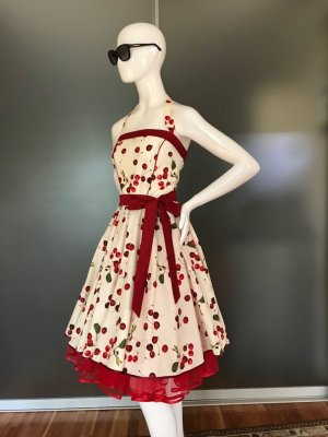 50er Jahre Rockabillykleid inkl. Petticoat inkl. Schleife weiß rote Kirschen