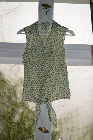 50s Bluse mit Ananasprint zum Knoten