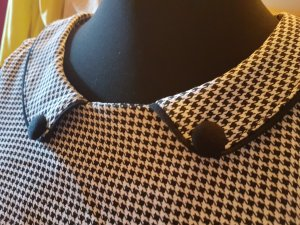 Miusol Peplum Dress black-white rayon