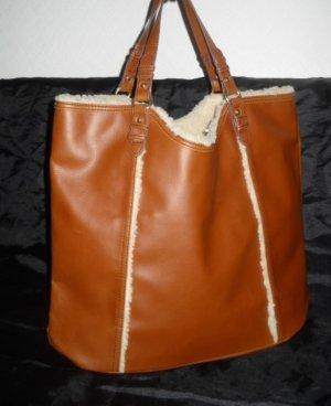 H&M Tasche Shopper Bag Weekender Henkel Beutel camel braun Fellbesatz creme NEU