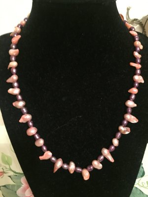 Bid Handmade Collana di perle rosa chiaro-lilla