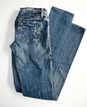 575 California Designer Low Waist Straight Edel Jeans aus L.A., made in USA, Sz 27 (wie 36)