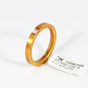 585 Gelbgold Ring. 1 Diamant 0,11ct. IF/TW Lupenrein, Größe 57. UVP 1056,00€