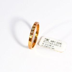 585 Gelbgold Ring. 3 Diamanten 0,06ct. Si/Champagner Natur, Größe 56. UVP 461€