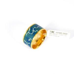 585 Gelbgold Ring, Grau-Blau Emailliert. Größe 54. UVP 1040,00€ Made in Germany